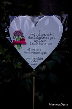 Memorial heart-Mum, Dad Fathers Day Grave Ornament-Personalised-Not a day goes