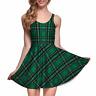 Green Plaid Tartan School Girl Look Lightweight Summer Stretchy Fun Skater Dress