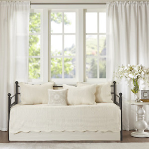 BEAUTIFUL IVORY WHITE STRIPE DAY BED DAYBED QUILT SOFT BEDDING SET & SHAMS - NEW