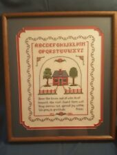 "Needle Point Professionally Matted & Framed Sampler w Prayer 18"" x 21"" Beautiful"