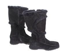 #1S Damen Winter Stiefel Boots Velours Leder schwarz Gr. 39 Fell gefüttert Wedge