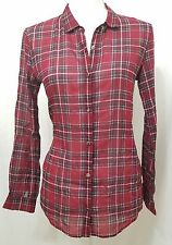 The Kooples Women's Long Sleeve Collared Button Down Shirt Plaid Small FCC765