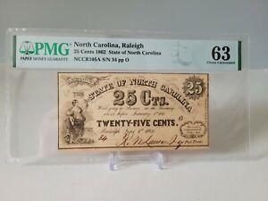 25 Cent 1864 North Carolina Confederate Currency PMG GRADE 63