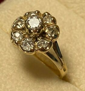 Vintage Estate Diamond Flower Cluster 14k Yellow Gold Wedding Ring Size 6.5