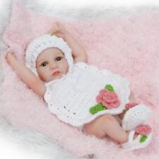 "Mini Full Vinyl Silicone Preemie Toy 10"" Reborn Baby Doll Cute Wool Clothes Girl"