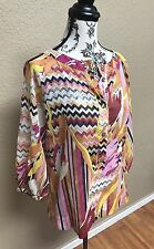 Missoni Designer Colorful patterned Small Layover top size small, bell sleeve