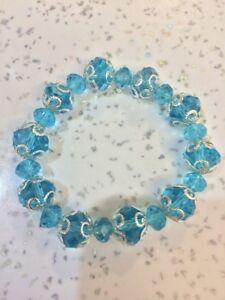 Light Blue Glass Stretch Bracelet Brand New XMAS PRESENT WOMANS/GIRLS