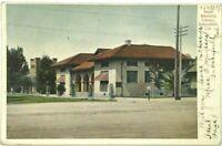 Postcard Bakersfield CA Beale Memorial Library Dirt Street View California 1907