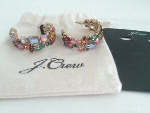 J. Crew Multi-Stone Hoop Earrings| BNWT & Pouch| Yellow, Green, Pink, Red, Blue