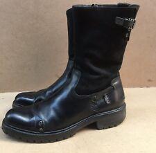 Cesare Paciotti Black Half Leather / Suede Zip Up Boots Mens Size Uk 6 || USA 7