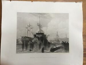 1842 Antique Print: Rigging Hulk and Frigate, Portsmouth after E.W. Cooke