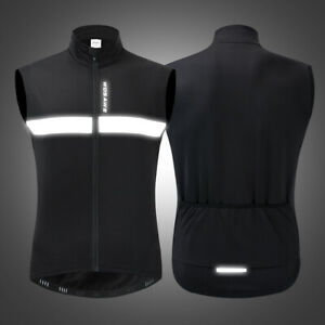 Winter Windproof Warm Cycling Vest Jacket Fleece Bike Jersey Undershirt Black