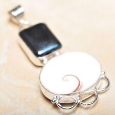 "Handmade Shiva Eye Shell Gemstone Pure 925 Sterling Silver Pendant 2.5"" #P14520"