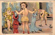 1938 Address and moonlight comics postcard - Curt Teich - Women undressing