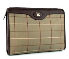 Auth Burberrys Nova Check Olive Canvas & Brown Leather Clutch Secondary Hand bag