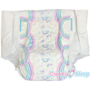 Pack of 10 Cuddlz Rainbow Unicorn Size Large to XXL Adult Nappies Diaper Nappy