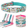Personalised Dog Collar Girl Boy Flower Puppy Collars Free Engraved Name ID Tags