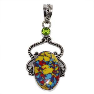 """Mozaic Jasper Peridot Gemstone Handmade Ethnic Silver Jewelry Pendant 2.5"""""""