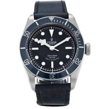 TUDOR MEN'S HERITAGE 41MM BLUE LEATHER BAND STEEL CASE AUTOMATIC WATCH 79220B