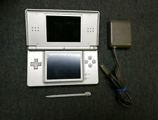 Nintendo DS Lite Console Gloss Silverwith Charger and Stylus *READ*