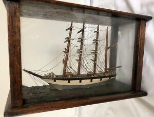 OUTSTANDING ANTIQUE TALL SHIP DIORAMA OAK & GLASS CASE BUFFALO NY RARE MARITIME