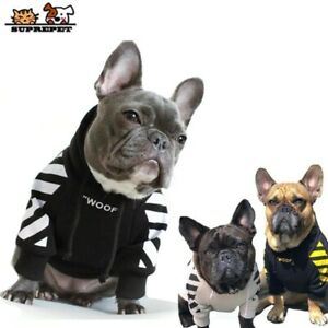 Dog Clothes for French Bulldog Adidog Stripe Pattern Dog Hoodie Pet Dog Clothes