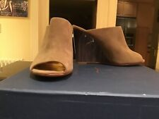 Coach Women's Hollie Taupe Kid Suede Wedge Mule Slide Size 7