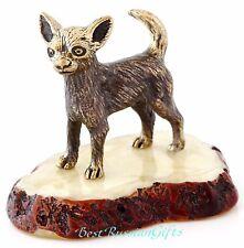 Butterscotch Baltic Amber Chihuahua Miniature Figurine  Brass Dog Sculpture