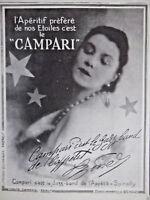 PUBLICITÉ DE PRESSE 1927 CAMPARI APÉRITIF PRÉFÉRÉ DE NOS ÉTOILES SIGNÉ SPINELLY
