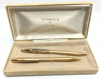 ASTRAMATIC II BY BRADLEY GOLD PLATED PEN PENCIL SET ORIGINAL BOX