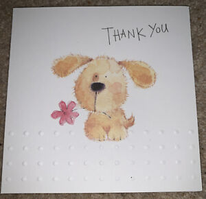Multipack X 8 Thank You Card - Blank Card For Own Message Cute Dog Design