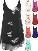 Plus Size Sleeveless Ladies Butterfly Print Pattern Summer Vest Top Blouse