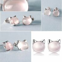 Freshwater Sterling A4206 Lovely 925 Silver Stud Earrings Pearl Cat