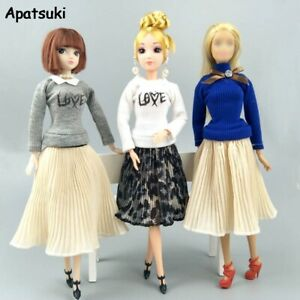 """Fashion Doll Clothes For 11.5"""" Dolls Outfits Blouses Chiffon Pleated Midi Skirt"""