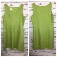 Talbots Womens Size 20 Dress Irish Linen Green Sleeveless V-Neck