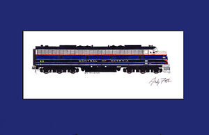 """Central of Georgia E8 11""""x17"""" Matted Print Andy Fletcher signed"""