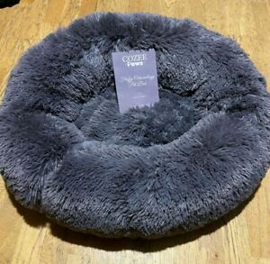 Purple Cozee Paws Odourology Fluffy Calming Pet Bed Small 2' Round Donut