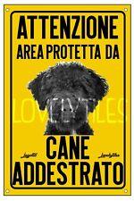 LAGOTTO AREA PROTETTA TARGA ATTENTI AL CANE CARTELLO PVC GIALLO
