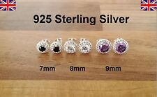 925 Sterling Silver - Lovely Stud Earrings with Single CZ and Small Ring Stones