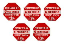 Protected By 'Red Shield Security System' Window Sticker (pack of 5)