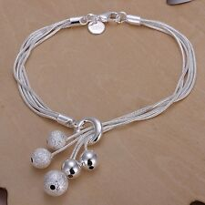 wedding lady Silver plated charms Beads chain cute Bracelet bangle Jewelry H243