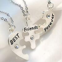 3pcs/Set BEST FRIENDS Heart Shape Necklace Ladies Silver Friendship Jewelry i