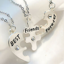 3pcs/Set BEST FRIENDS Heart Shape Necklace Ladies Silver Friendship Jewelry