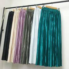 Lady Satin Dress Skirt Pleat Casual Metallic Sparkly Faux Silk Double Layer Midi