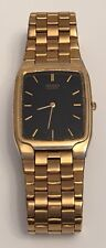 Vintage Seiko 5y30-5289 Mens Quartz Gold Band Black Face Watch Runs New Battery