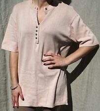 """VINTAGE 80s Stretch Knit Tunic Top 48"""" Bust SIZE10-16 Dusky Pink 100% Cotton"""