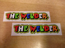 "Valentino Rossi style text - ""THE WELDER""  x2 stickers / decals  - 5in x 1in"