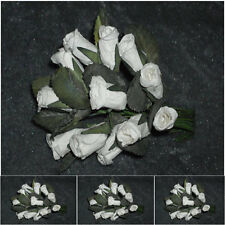 12 x 2 cm white mulberry paper roses-Ideal for Magnolia  cards/scrapbooking