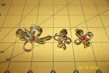 Vintage Earring Clip earrings and brooch Flower Leaf Cluster Rhinestone Pearl