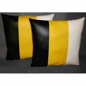 Real Lambskin Leather Pillow Covers Handmade Cushion Cover Black White Yellow